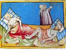 """איור של חולי המוות השחור [מתוך ספר תנ""""ך גרמני משנת 1411]"""