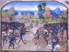 """מיניאטורה של קרב פואטייה ב-1356, בו הובס ז'אן """"הטוב"""" ונלקח בשבי"""