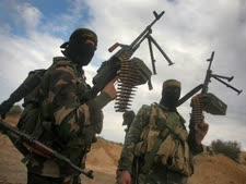 חיילי צבא הג'יהאד האיסלאמי. גורם משכין שלום [צילום: פלאש 90]