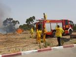 צוותי הכיבוי סמוך לאלעד [צילום: דוברות כבאות והצלה]