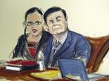 אל-צ'אפו בבית המשפט בברוקלין [ציור: אליזבת ויליאמס]