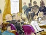 וינשטיין (שני משמאל) באולם המשפט [ציור: אליזבת ויליאמס]