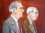 מיידוף (מימין) בבית המשפט [ציור: אליזבת ויליאמס, AP]