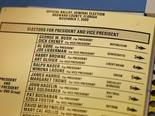 פתק הצבעה מפלורידה, בוש נגד גור [צילום: וילפרדו לי, AP]