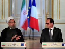 נשיא איראן,חסן רוחאני ונשיא צרפת, פרנסוא הולנד [צילום: AP/Thibault Camus]