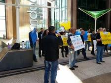 מחאת עובדים בחברת אמדוקס [צילום: דוברות ההסתדרות]