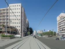 הדמיית רחוב המלך ג'ורג' הקו הכחול של הרכבת הקלה בירושלים [הדמיה מור דגן/תכנית אב לתחבורה]