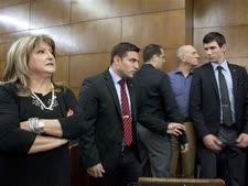 אולמרט וזקן במשפט הולילנד [צילום: AP]