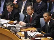 אובמה, נשיא סין, וגורדון בראון בישיבת מועצת הביטחון [צילום: AP]