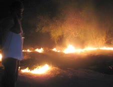 שריפה בעקבות פגיעת קסאם [צילום: רמי ראובני]