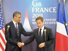 סרקוזי ואובמה בפסגת ה-G8, היום [צילום: AP]