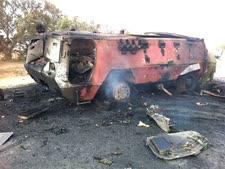 """הנגמ""""ש המצרי שעלה באש [צילום: דו""""צ]"""