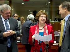 קתרין אשטון ומצדדיה שרי החוץ של פולין ולוקסמבורג [צילום: AP]