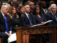 טראמפ בהלוויית בוש [צילום: אלכס ברנדון, AP]