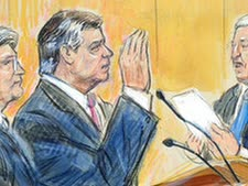 מנפורט בבית המשפט [ציור: דנה ורקוטרנה, AP]
