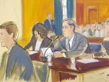 כהן בבית המשפט בשבוע שעבר [ציור: אליזבת ויליאמס]