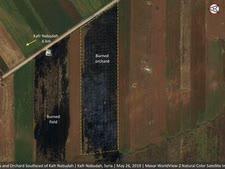 שדות שרופים בסוריה בתמונת לוויין [צילום: AP]