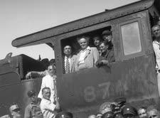 בן-גוריון ברכבת [באדיבות מוזאון רכבת ישראל]