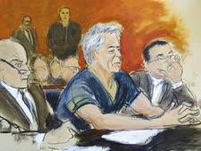 אפשטיין בבית המשפט [ציור: אליזבת ויליאמס, AP]