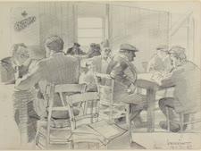 חדר קריאה במחנה גירס [ציור: יעקב ברוסין]
