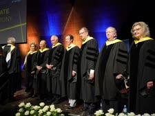 """2.מקבלי תוארי הכבוד לשנת 2019. מימין לשמאל : קרול אפשטיין, ד""""ר סטיוארט א' פלדמן, פרופ' ד""""ר אלפרד פורשל , פרופ' סטפן מלאך, משה ספדיה, סמי סגול ונינה אבידר ווינר  [צילום: ניצן זוהר, דוברות הטכניון]"""