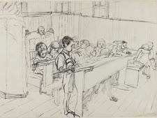 בית ספר בגטו קובנה [ציור: יעקב ליפשיץ]