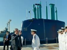"""נתניהו בקבלת הצוללת """"רהב"""" [צילום: קובי גדעון, לע""""מ]"""