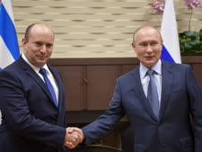"""בנט ופוטין בפתח הפגישה ברוסיה [צילום: קובי גדעון, לע""""מ]"""