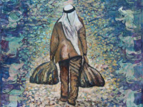"""""""הפליט"""" - ציורו של אחמד כנעאן"""