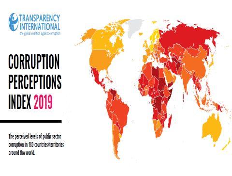 מפת מדד השחיתות העולמי לשנת 2019
